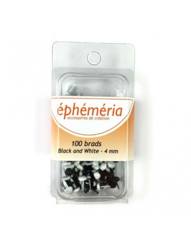 Brads Blanco/negro 4mm 100pcs