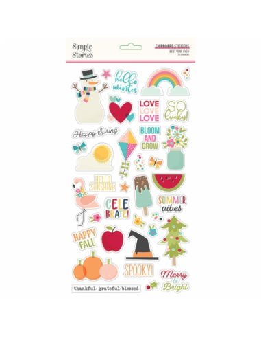 Simple Stories Best Year Ever Chipboard